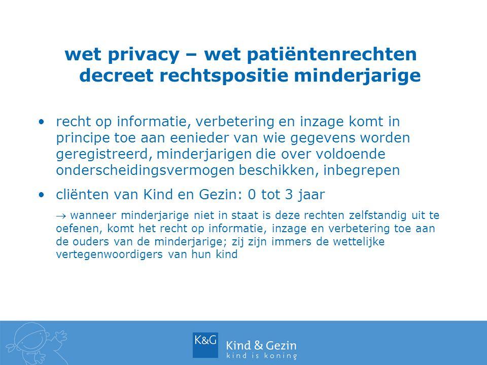 wet privacy – wet patiëntenrechten decreet rechtspositie minderjarige recht op informatie, verbetering en inzage komt in principe toe aan eenieder van