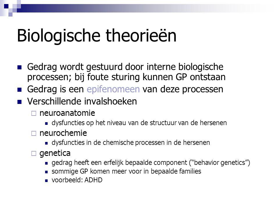 Biologische theorieën Gedrag wordt gestuurd door interne biologische processen; bij foute sturing kunnen GP ontstaan Gedrag is een epifenomeen van dez