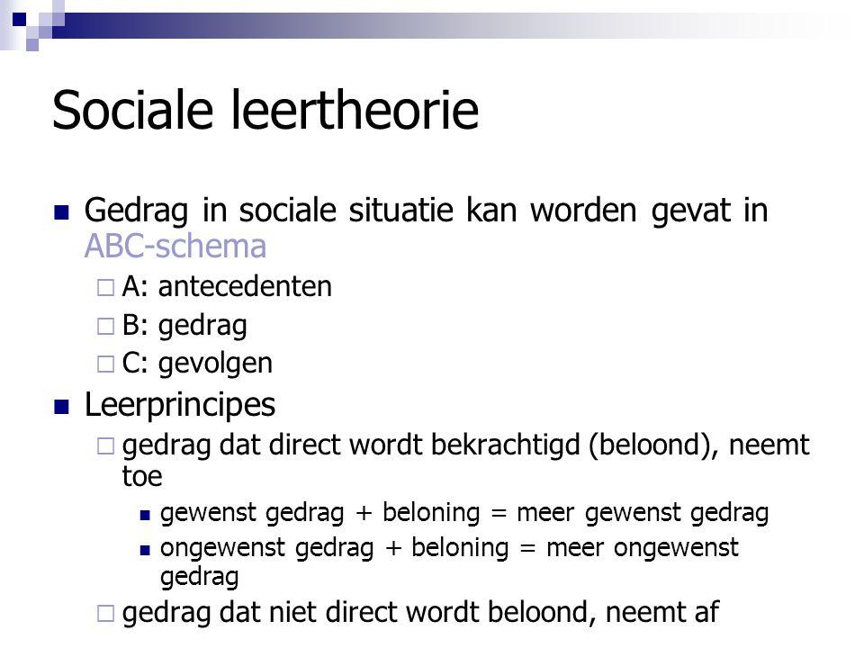 Sociale leertheorie Gedrag in sociale situatie kan worden gevat in ABC-schema  A: antecedenten  B: gedrag  C: gevolgen Leerprincipes  gedrag dat d