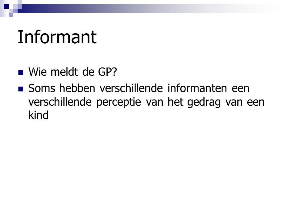 Informant Wie meldt de GP? Soms hebben verschillende informanten een verschillende perceptie van het gedrag van een kind