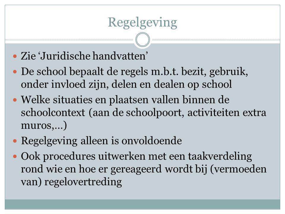Regelgeving Zie 'Juridische handvatten' De school bepaalt de regels m.b.t.