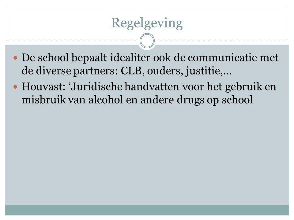 Regelgeving De school bepaalt idealiter ook de communicatie met de diverse partners: CLB, ouders, justitie,… Houvast: 'Juridische handvatten voor het gebruik en misbruik van alcohol en andere drugs op school