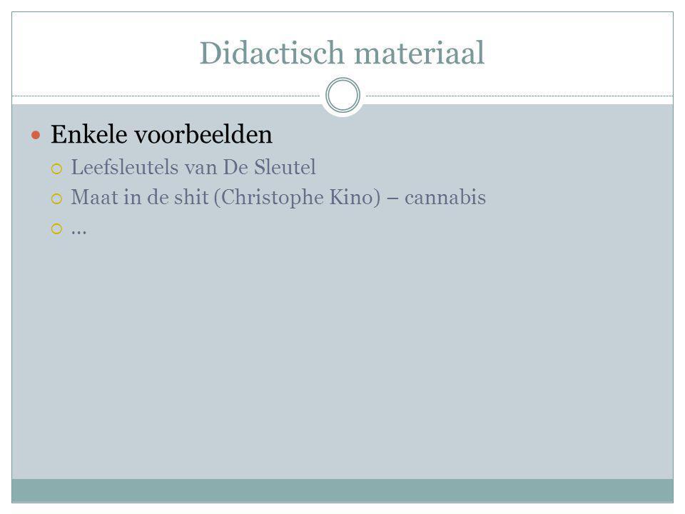 Didactisch materiaal Enkele voorbeelden  Leefsleutels van De Sleutel  Maat in de shit (Christophe Kino) – cannabis  …
