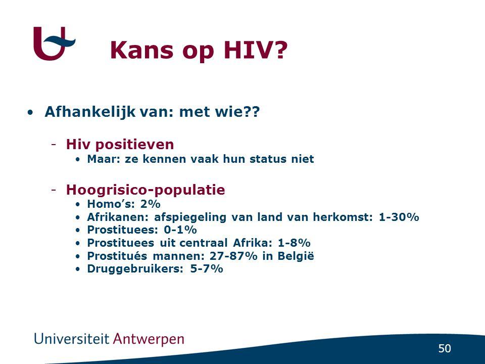 50 Kans op HIV? Afhankelijk van: met wie?? -Hiv positieven Maar: ze kennen vaak hun status niet -Hoogrisico-populatie Homo's: 2% Afrikanen: afspiegeli