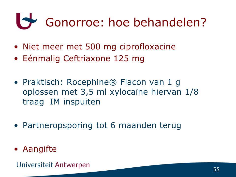 55 Gonorroe: hoe behandelen? Niet meer met 500 mg ciprofloxacine Eénmalig Ceftriaxone 125 mg Praktisch: Rocephine® Flacon van 1 g oplossen met 3,5 ml