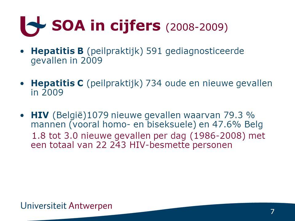 7 SOA in cijfers (2008-2009) Hepatitis B (peilpraktijk) 591 gediagnosticeerde gevallen in 2009 Hepatitis C (peilpraktijk) 734 oude en nieuwe gevallen