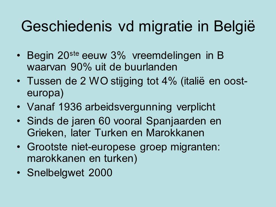 Geschiedenis vd migratie in België Begin 20 ste eeuw 3% vreemdelingen in B waarvan 90% uit de buurlanden Tussen de 2 WO stijging tot 4% (italië en oost- europa) Vanaf 1936 arbeidsvergunning verplicht Sinds de jaren 60 vooral Spanjaarden en Grieken, later Turken en Marokkanen Grootste niet-europese groep migranten: marokkanen en turken) Snelbelgwet 2000
