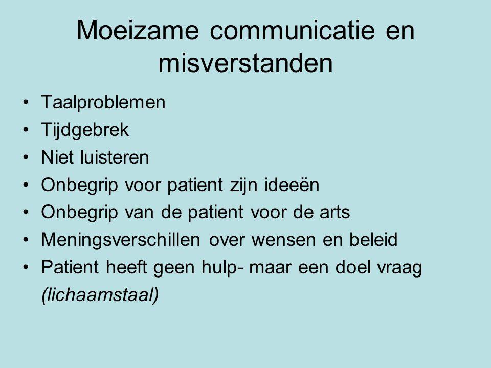 Moeizame communicatie en misverstanden Taalproblemen Tijdgebrek Niet luisteren Onbegrip voor patient zijn ideeën Onbegrip van de patient voor de arts