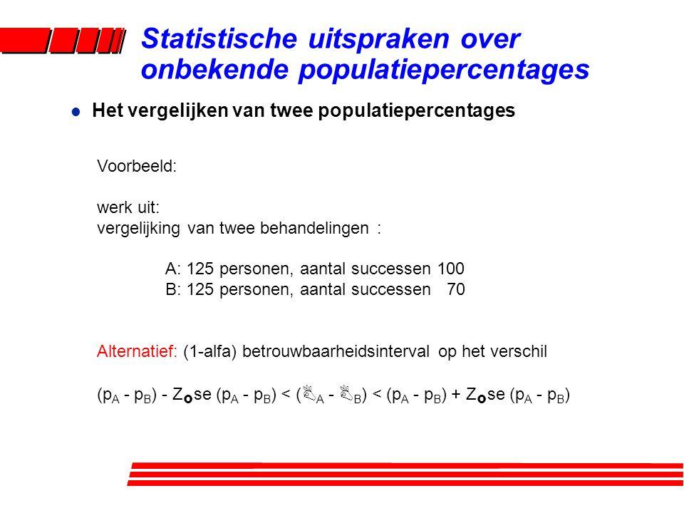 l Het vergelijken van twee populatiepercentages Statistische uitspraken over onbekende populatiepercentages Voorbeeld: werk uit: vergelijking van twee