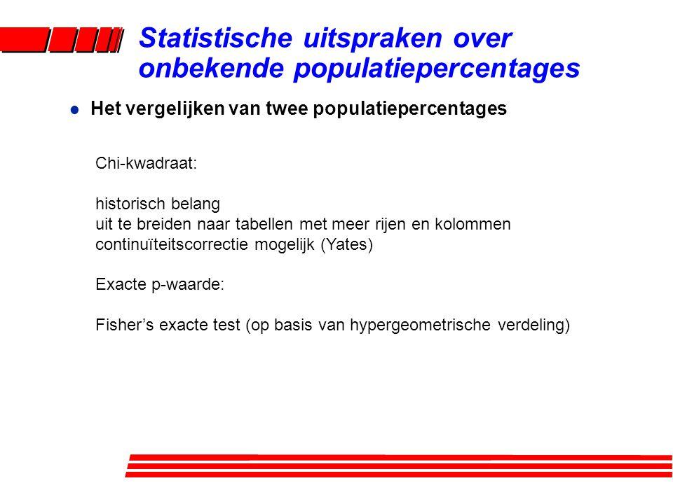 l Het vergelijken van twee populatiepercentages Statistische uitspraken over onbekende populatiepercentages Chi-kwadraat: historisch belang uit te bre