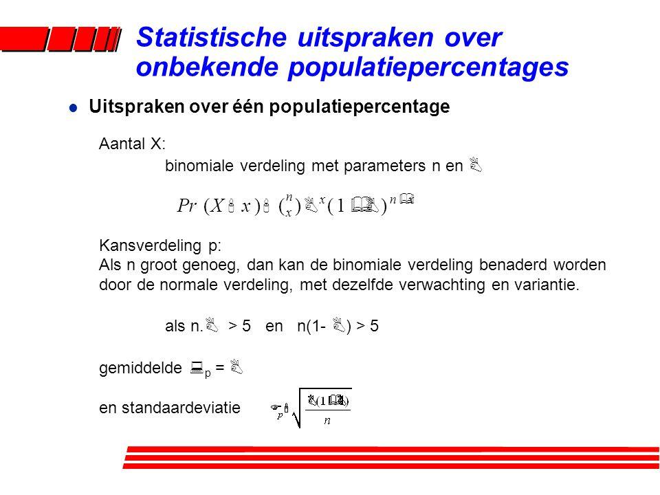 l Uitspraken over één populatiepercentage Aantal X: binomiale verdeling met parameters n en B Kansverdeling p: Als n groot genoeg, dan kan de binomial