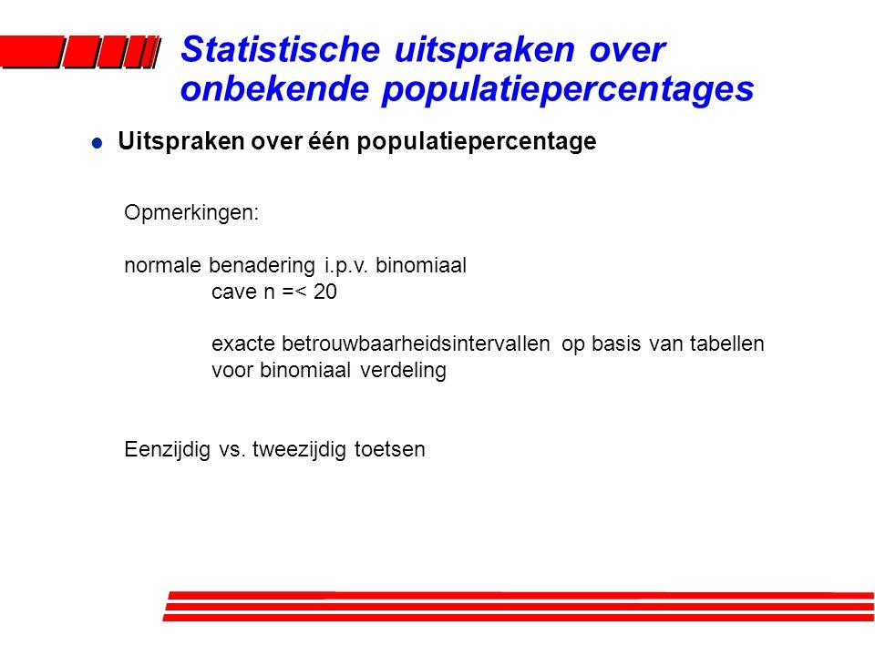 l Uitspraken over één populatiepercentage Statistische uitspraken over onbekende populatiepercentages Opmerkingen: normale benadering i.p.v. binomiaal