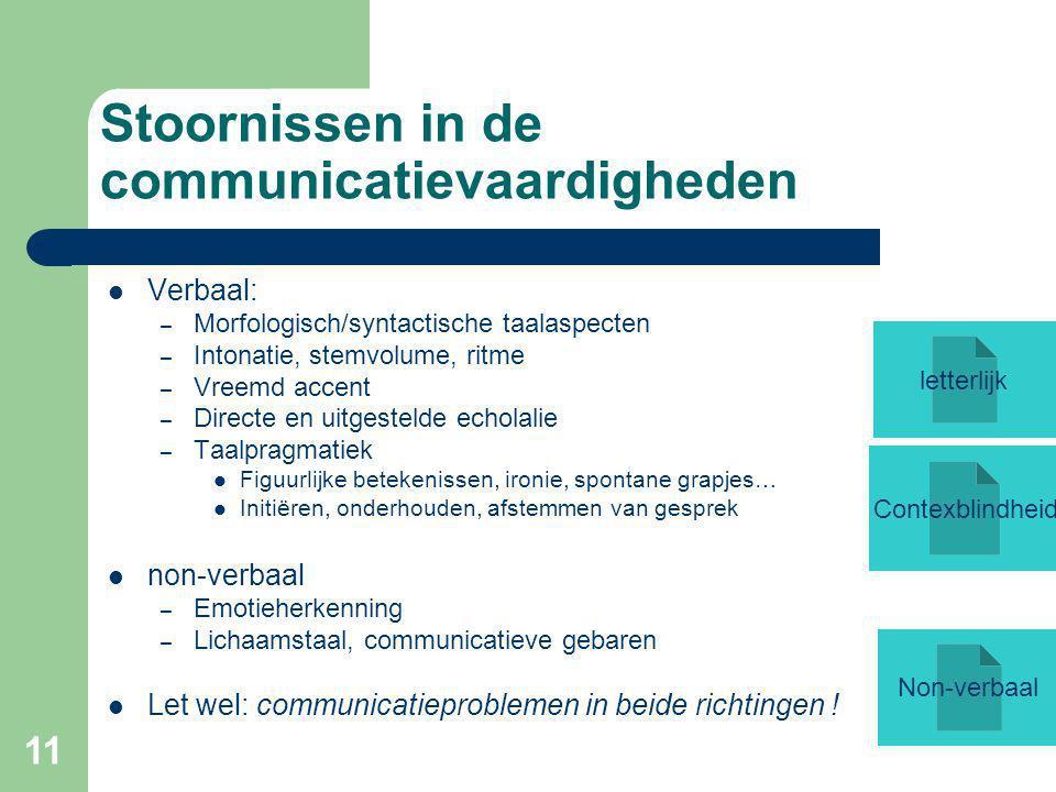 11 Stoornissen in de communicatievaardigheden Verbaal: – Morfologisch/syntactische taalaspecten – Intonatie, stemvolume, ritme – Vreemd accent – Directe en uitgestelde echolalie – Taalpragmatiek Figuurlijke betekenissen, ironie, spontane grapjes… Initiëren, onderhouden, afstemmen van gesprek non-verbaal – Emotieherkenning – Lichaamstaal, communicatieve gebaren Let wel: communicatieproblemen in beide richtingen .