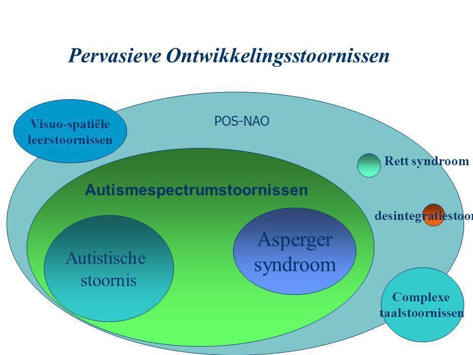 Autismespectrumstoornissen Autistische stoornis Asperger syndroom Rett syndroom desintegratiestoornis Pervasieve Ontwikkelingsstoornissen Complexe taalstoornissen Visuo-spatiële leerstoornissen POS-NAO