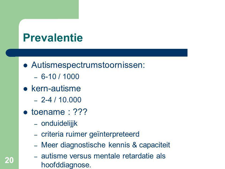 20 Prevalentie Autismespectrumstoornissen: – 6-10 / 1000 kern-autisme – 2-4 / 10.000 toename : ??.