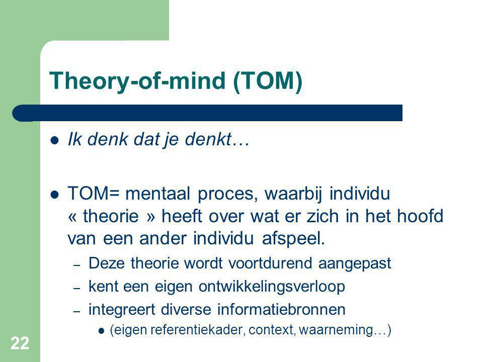 22 Theory-of-mind (TOM) Ik denk dat je denkt… TOM= mentaal proces, waarbij individu « theorie » heeft over wat er zich in het hoofd van een ander individu afspeel.