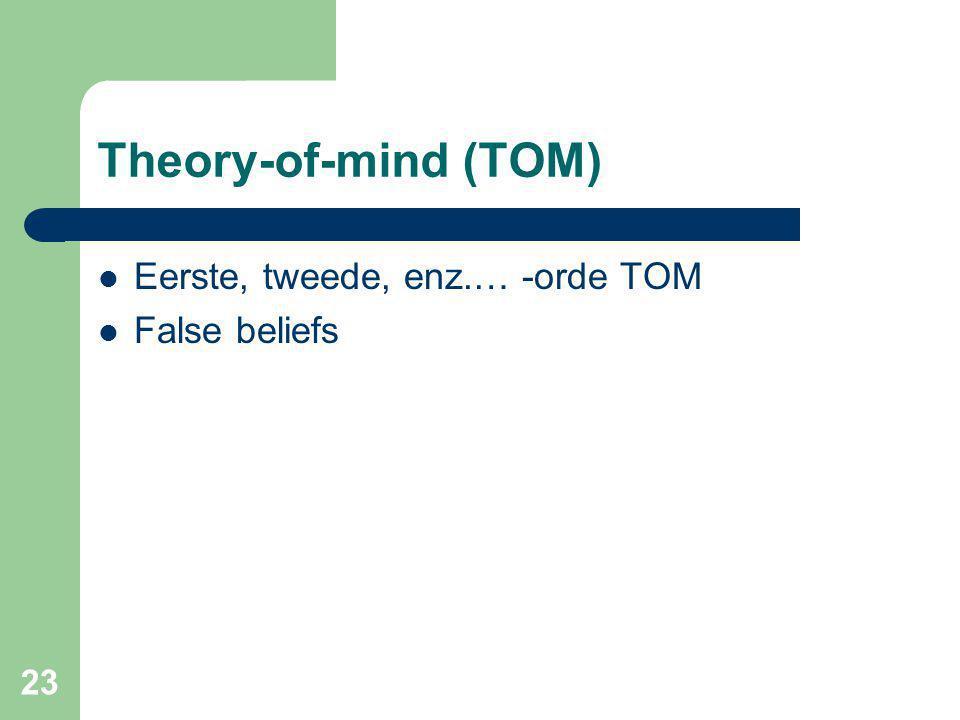23 Theory-of-mind (TOM) Eerste, tweede, enz.… -orde TOM False beliefs