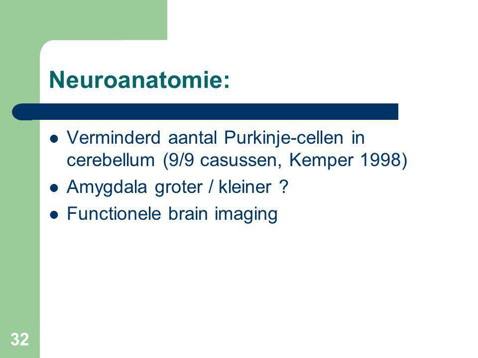 32 Neuroanatomie: Verminderd aantal Purkinje-cellen in cerebellum (9/9 casussen, Kemper 1998) Amygdala groter / kleiner .