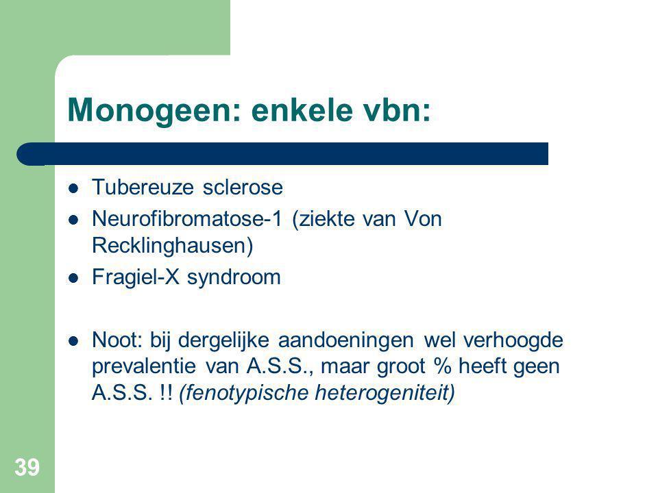 39 Monogeen: enkele vbn: Tubereuze sclerose Neurofibromatose-1 (ziekte van Von Recklinghausen) Fragiel-X syndroom Noot: bij dergelijke aandoeningen wel verhoogde prevalentie van A.S.S., maar groot % heeft geen A.S.S.
