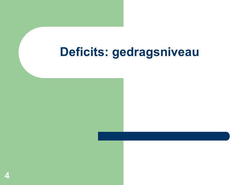 4 Deficits: gedragsniveau