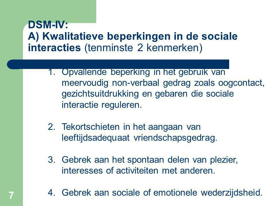 7 DSM-IV: A) Kwalitatieve beperkingen in de sociale interacties (tenminste 2 kenmerken) 1.Opvallende beperking in het gebruik van meervoudig non-verbaal gedrag zoals oogcontact, gezichtsuitdrukking en gebaren die sociale interactie reguleren.
