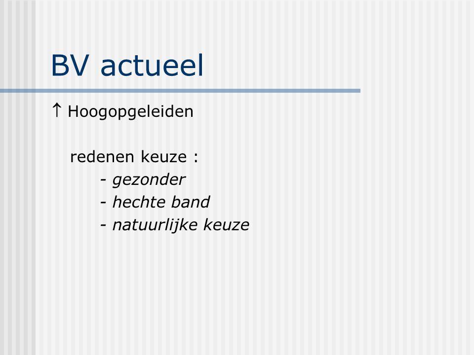 BV actueel  Hoogopgeleiden redenen keuze : - gezonder - hechte band - natuurlijke keuze