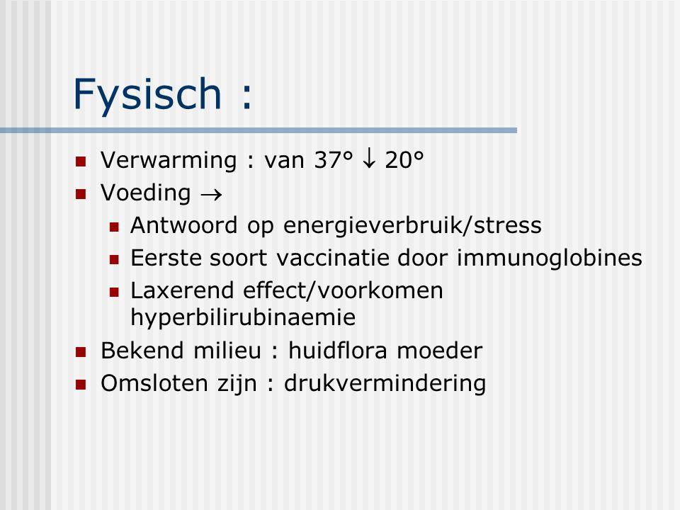 Fysisch : Verwarming : van 37°  20° Voeding  Antwoord op energieverbruik/stress Eerste soort vaccinatie door immunoglobines Laxerend effect/voorkome