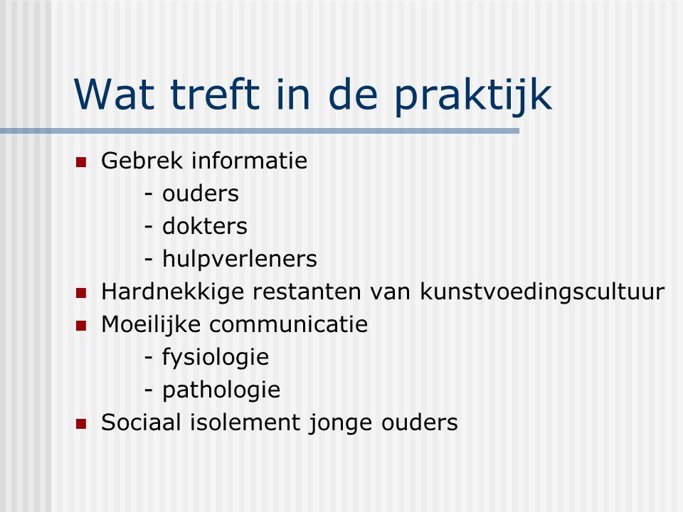 Wat treft in de praktijk Gebrek informatie - ouders - dokters - hulpverleners Hardnekkige restanten van kunstvoedingscultuur Moeilijke communicatie -