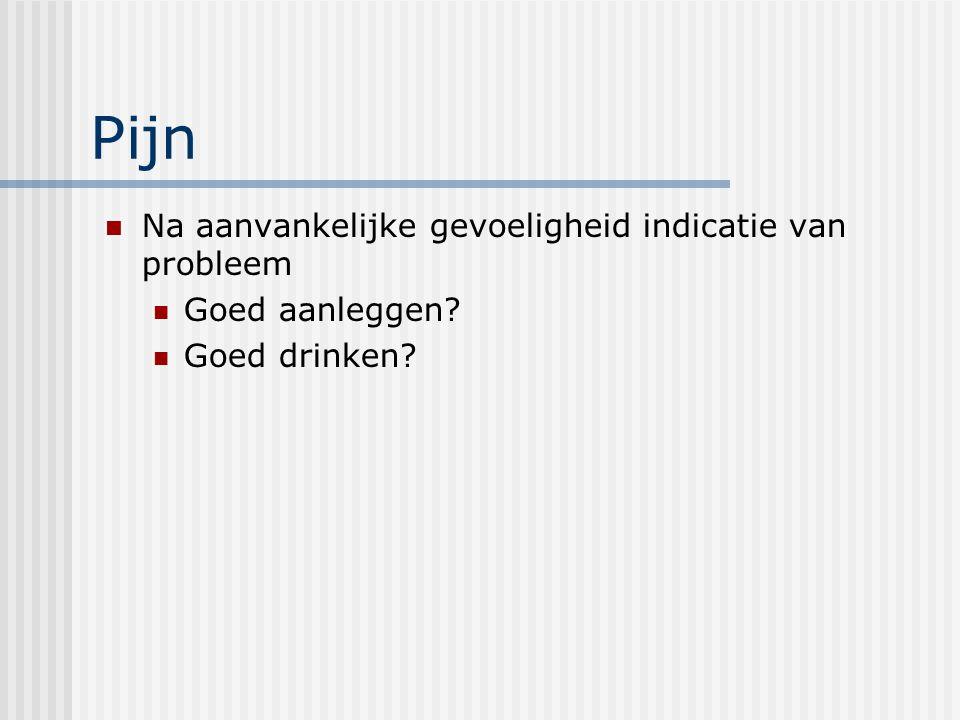 Pijn Na aanvankelijke gevoeligheid indicatie van probleem Goed aanleggen? Goed drinken?