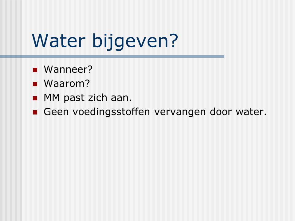 Water bijgeven? Wanneer? Waarom? MM past zich aan. Geen voedingsstoffen vervangen door water.