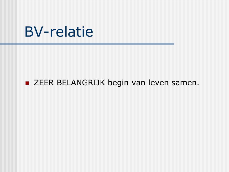 BV-relatie ZEER BELANGRIJK begin van leven samen.