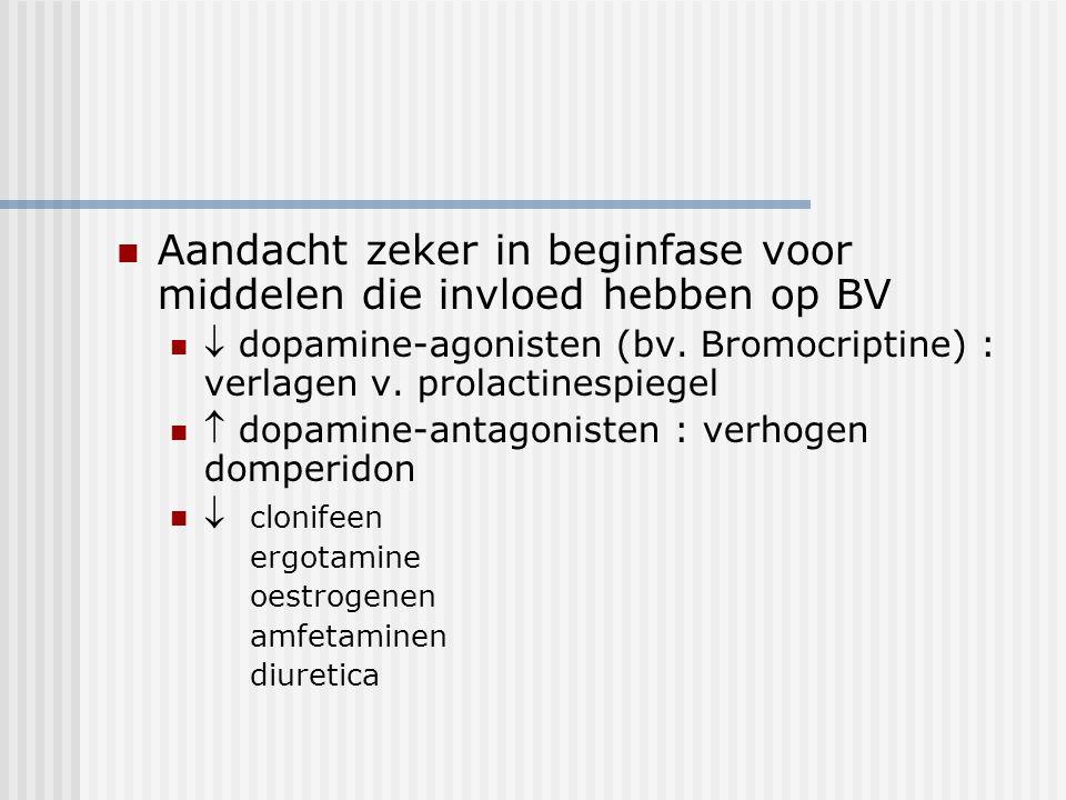 Aandacht zeker in beginfase voor middelen die invloed hebben op BV  dopamine-agonisten (bv. Bromocriptine) : verlagen v. prolactinespiegel  dopamine