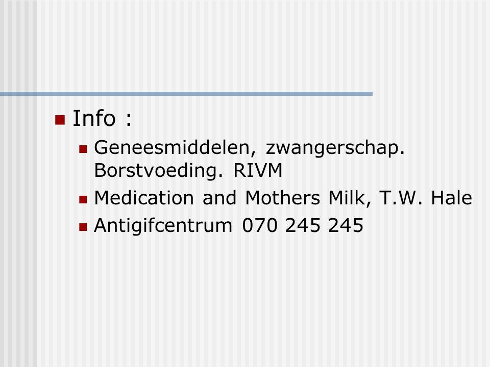 Info : Geneesmiddelen, zwangerschap. Borstvoeding. RIVM Medication and Mothers Milk, T.W. Hale Antigifcentrum 070 245 245