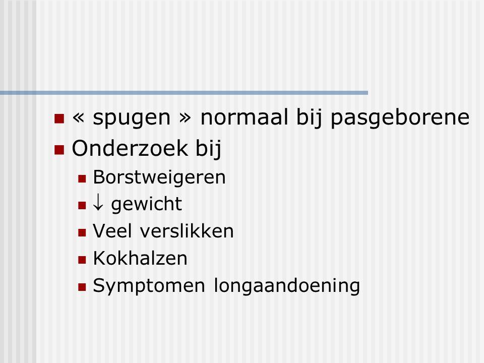« spugen » normaal bij pasgeborene Onderzoek bij Borstweigeren  gewicht Veel verslikken Kokhalzen Symptomen longaandoening