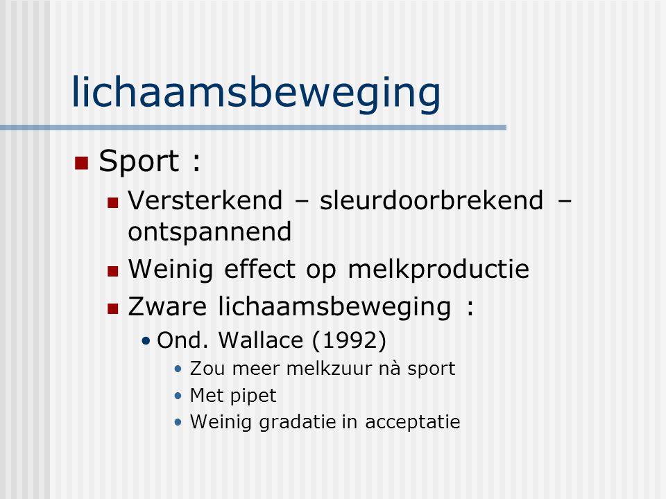 lichaamsbeweging Sport : Versterkend – sleurdoorbrekend – ontspannend Weinig effect op melkproductie Zware lichaamsbeweging : Ond. Wallace (1992) Zou