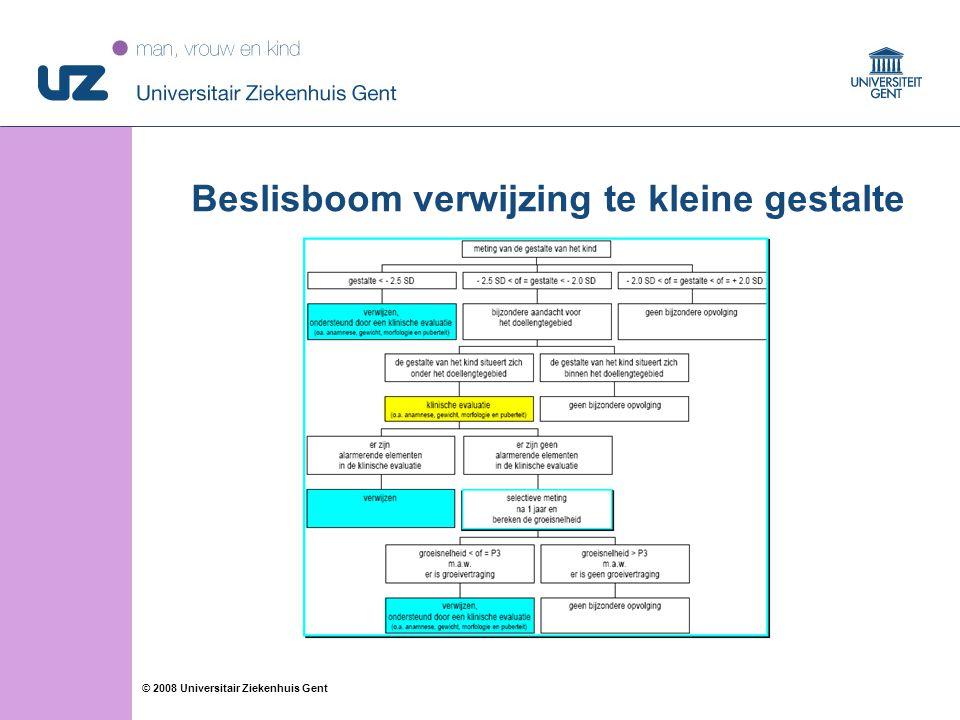12 © 2008 Universitair Ziekenhuis Gent Beslisboom verwijzing te kleine gestalte