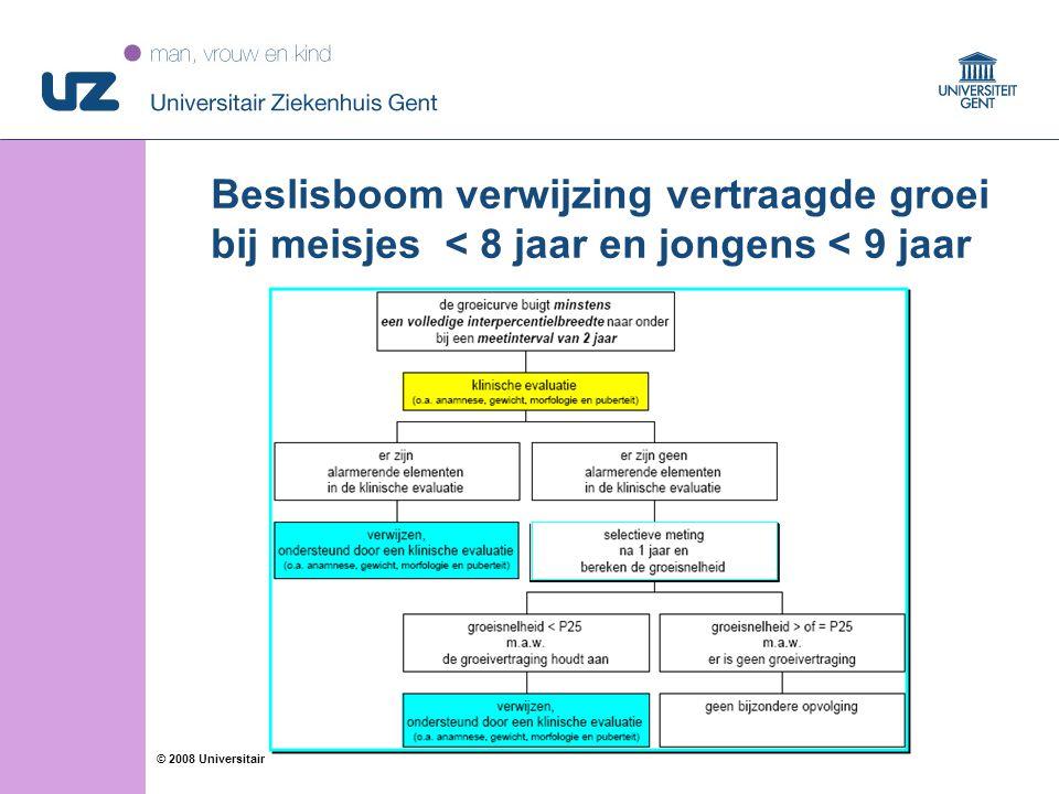 16 © 2008 Universitair Ziekenhuis Gent Beslisboom verwijzing vertraagde groei bij meisjes < 8 jaar en jongens < 9 jaar