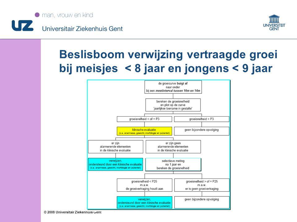 17 © 2008 Universitair Ziekenhuis Gent Beslisboom verwijzing vertraagde groei bij meisjes < 8 jaar en jongens < 9 jaar