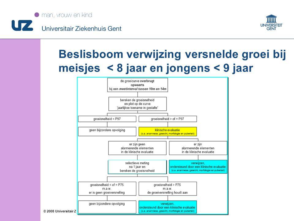 22 © 2008 Universitair Ziekenhuis Gent Beslisboom verwijzing versnelde groei bij meisjes < 8 jaar en jongens < 9 jaar