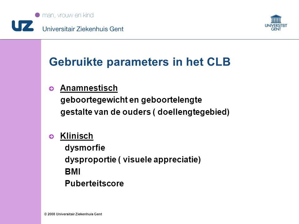 77 © 2008 Universitair Ziekenhuis Gent Gebruikte parameters in het CLB Anamnestisch geboortegewicht en geboortelengte gestalte van de ouders ( doellengtegebied) Klinisch dysmorfie dysproportie ( visuele appreciatie) BMI Puberteitscore