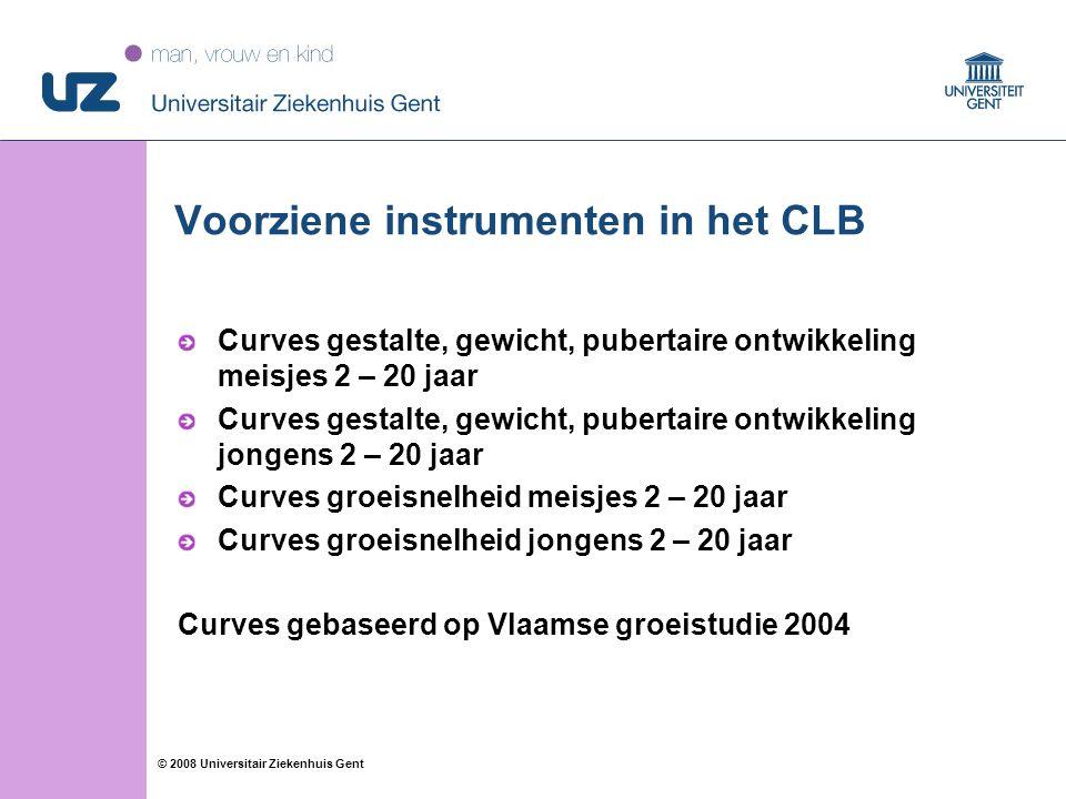 99 © 2008 Universitair Ziekenhuis Gent Voorziene instrumenten in het CLB Curves gestalte, gewicht, pubertaire ontwikkeling meisjes 2 – 20 jaar Curves