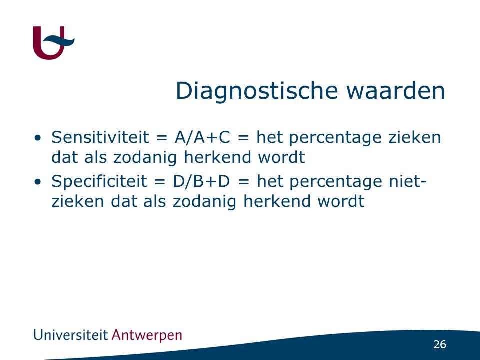 26 Diagnostische waarden Sensitiviteit = A/A+C = het percentage zieken dat als zodanig herkend wordt Specificiteit = D/B+D = het percentage niet- ziek