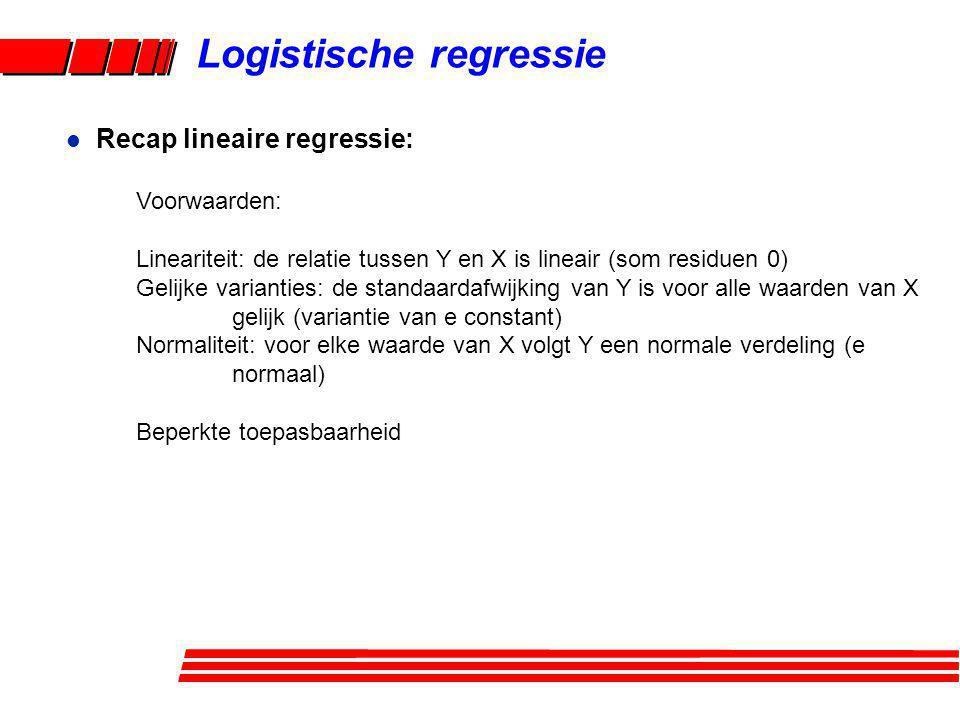 Logistische regressie Voorwaarden: Lineariteit: de relatie tussen Y en X is lineair (som residuen 0) Gelijke varianties: de standaardafwijking van Y i