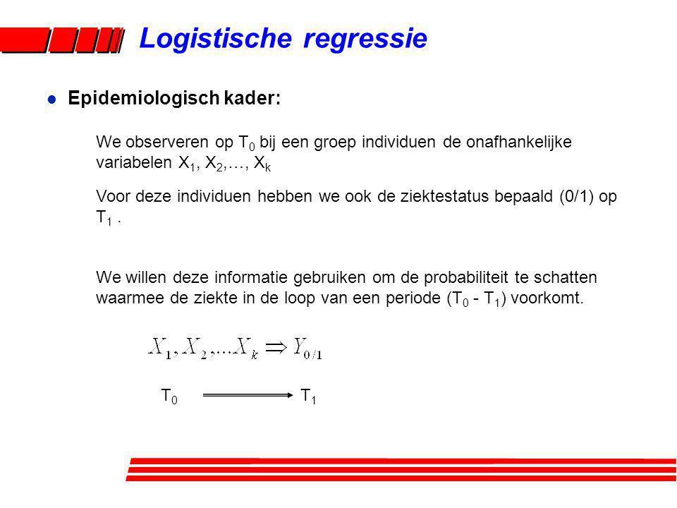 Logistische regressie We observeren op T 0 bij een groep individuen de onafhankelijke variabelen X 1, X 2,…, X k Voor deze individuen hebben we ook de