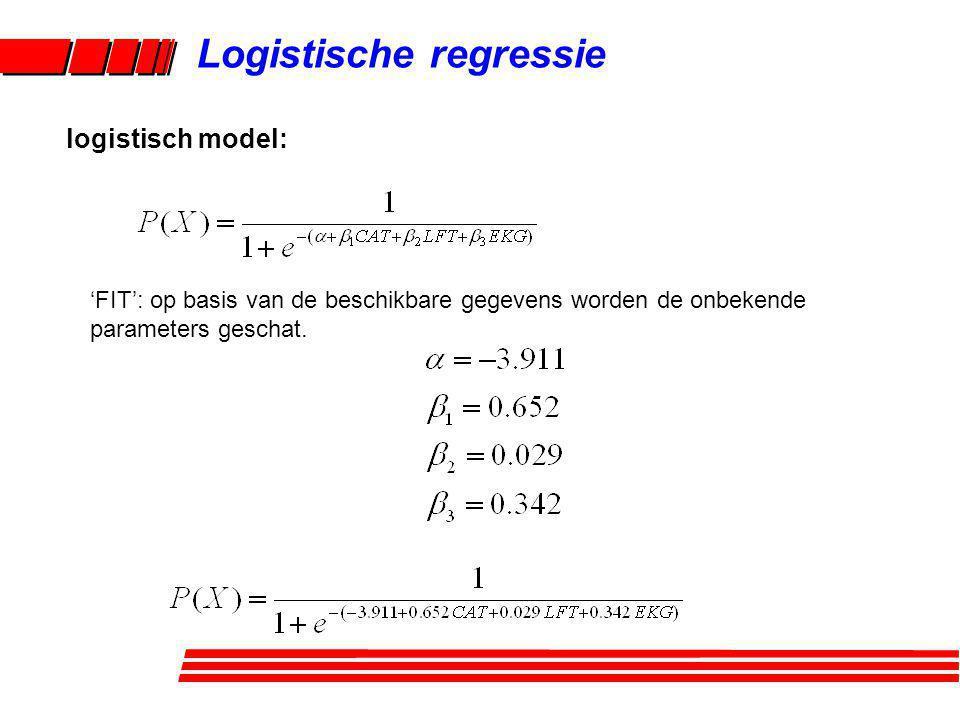 Logistische regressie 'FIT': op basis van de beschikbare gegevens worden de onbekende parameters geschat. logistisch model: