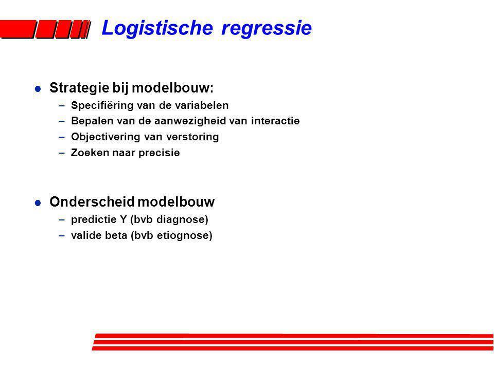 Logistische regressie l Strategie bij modelbouw: –Specifiëring van de variabelen –Bepalen van de aanwezigheid van interactie –Objectivering van versto