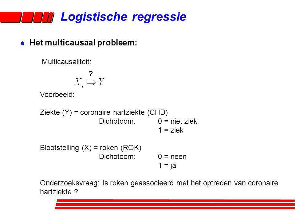 Logistische regressie Voor de analyse: gebruik een mathematisch model multiple regressie bij dichotome Y: gebruik een logistisch model l Het multicausaal probleem:
