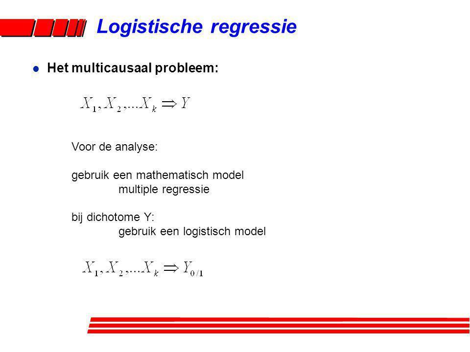 Logistische regressie Voor de analyse: gebruik een mathematisch model multiple regressie bij dichotome Y: gebruik een logistisch model l Het multicaus