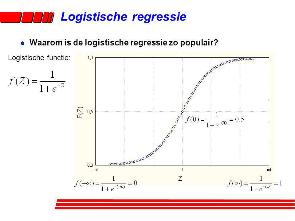 Logistische regressie Algemene formule: l Afleiding van de odds ratio (OR) formule: