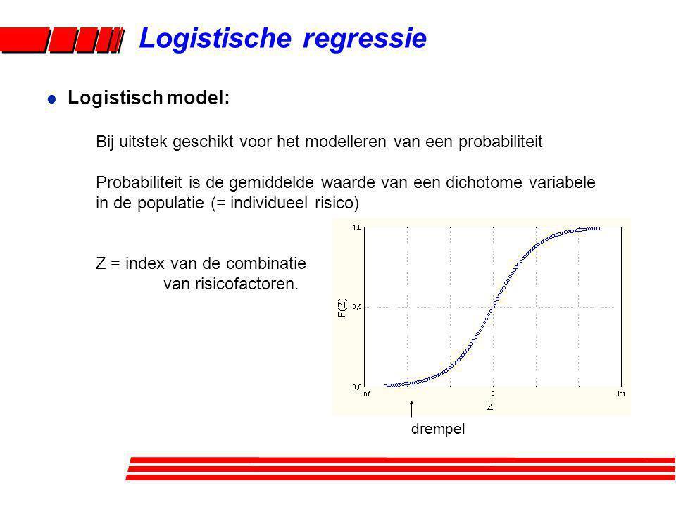 Logistische regressie Bij uitstek geschikt voor het modelleren van een probabiliteit Probabiliteit is de gemiddelde waarde van een dichotome variabele